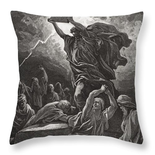 Tables Throw Pillow featuring the painting Moses Breaking The Tablets Of The Law by Gustave Dore
