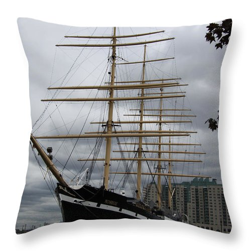 Sailship Throw Pillow featuring the photograph Moshulu by Christiane Schulze Art And Photography