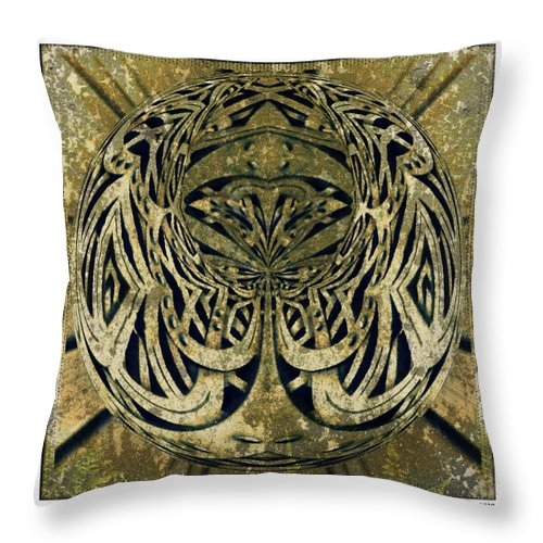 Kaleidoscope Throw Pillow featuring the digital art Mossy Sphere by Charmaine Zoe