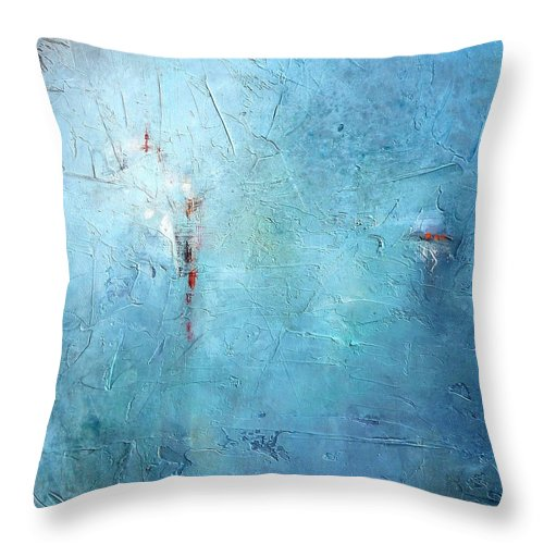 Abstract Throw Pillow featuring the painting Mostly Blue by Karen Hale
