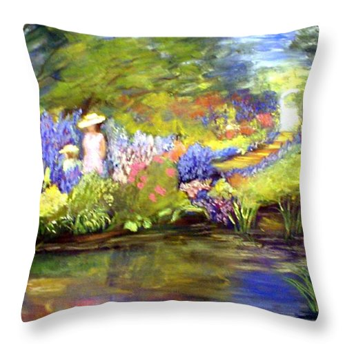 Flower Garden Throw Pillow featuring the painting Mother And Daughter by Gail Kirtz