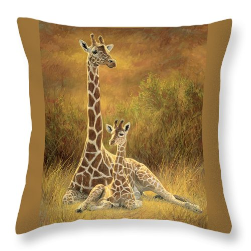 Giraffe Throw Pillow featuring the painting Mother and Son by Lucie Bilodeau