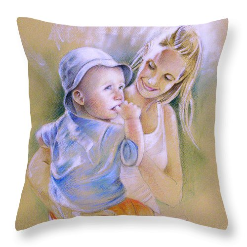 Portrait Throw Pillow featuring the painting Mother And Son by Miki De Goodaboom