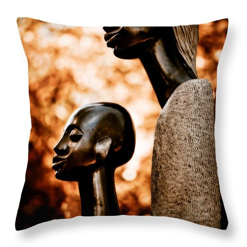 Art Throw Pillow featuring the photograph Mother And Son by Venetta Archer