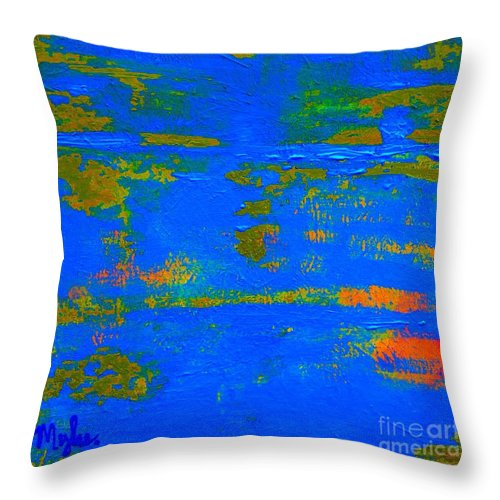 Blue Planet Throw Pillow featuring the painting Mother Earth 1 Abstract by Saundra Myles