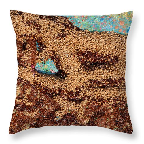 Mother And Child Throw Pillow featuring the mixed media Mother Earth IV by Naomi Gerrard