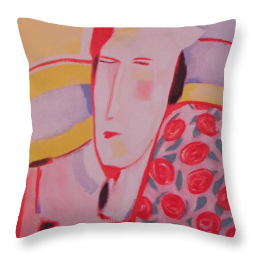 Woman With Rose Patterned Shawl Throw Pillow featuring the painting Mother by Jelila