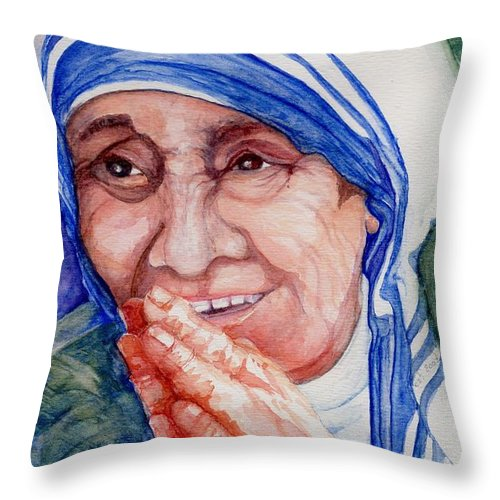 Elle Fagan Throw Pillow featuring the painting Mother Teresa by Elle Smith Fagan
