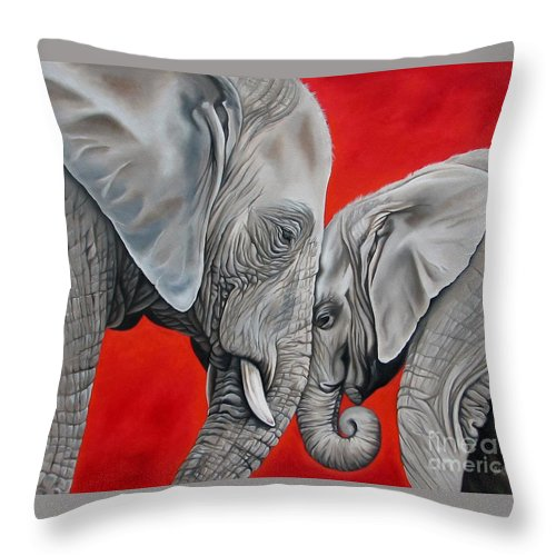 Elephant Throw Pillow featuring the painting Mothers Love by Ilse Kleyn