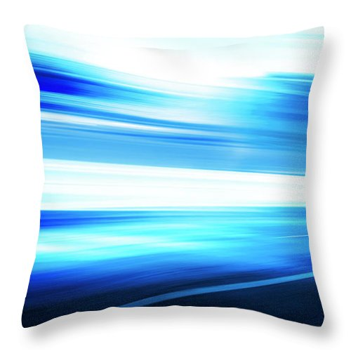 Empty Throw Pillow featuring the digital art Motion Blue Road by Aaron Foster