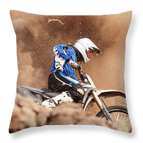 Crash Helmet Throw Pillow featuring the photograph Motocross Biker Taking A Turn In The by Daniel Milchev