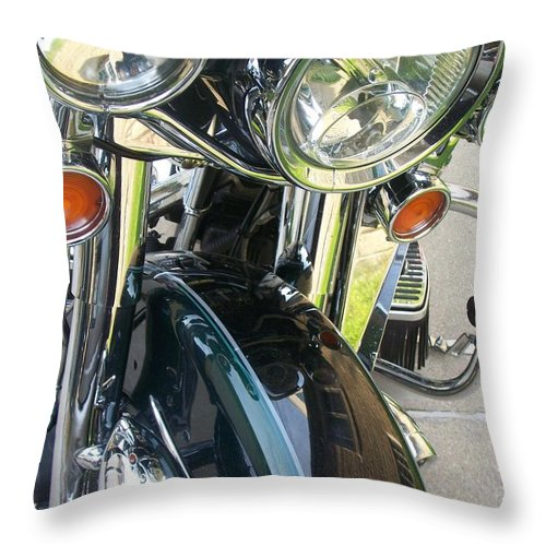 Motorcycles Throw Pillow featuring the photograph Motorcyle Classic Headlight by Anita Burgermeister