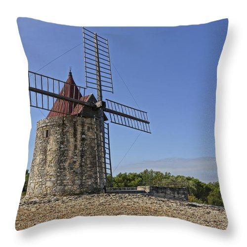 Moulin De Daudet Throw Pillow featuring the photograph Moulin De Daudet Fontvieille France Dsc01833 by Greg Kluempers