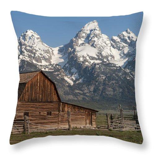 Grand Teton Throw Pillow featuring the photograph Moulton Barn - Grand Tetons I by Sandra Bronstein
