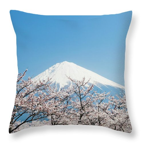 Scenics Throw Pillow featuring the photograph Mount Fuji & Cherry Blossom by Ooyoo