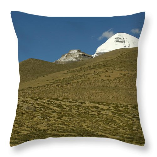 Chinese Culture Throw Pillow featuring the photograph Mount Kailash by Tanukiphoto