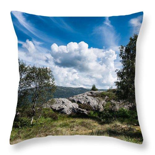 Lovstakken Throw Pillow featuring the photograph Mount Lovstakken by Hakon Soreide