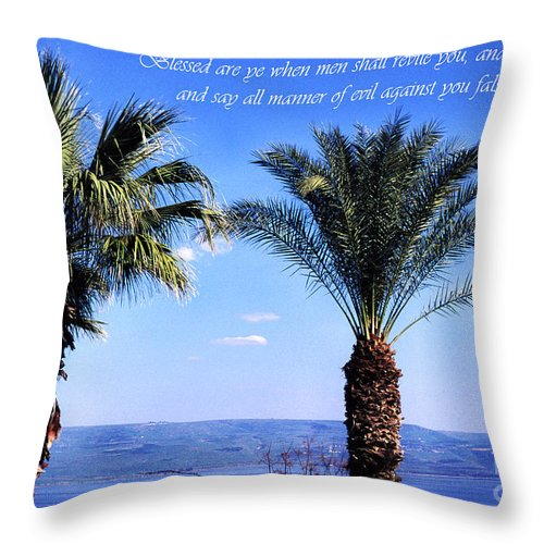 Sea Of Galilee Throw Pillow featuring the photograph Mount Of The Beatitudes by Thomas R Fletcher