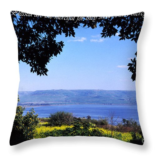 Sea Of Galilee Throw Pillow featuring the photograph Mount Of The Beattitudes by Thomas R Fletcher