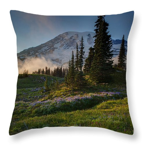 Rainier Throw Pillow featuring the photograph Mount Rainier Evening Fog by Mike Reid