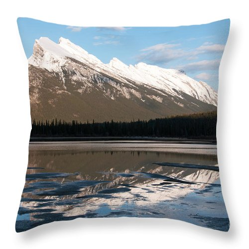 Mount Rundle Throw Pillow featuring the photograph Mount Rundle Reflections by Vivian Christopher