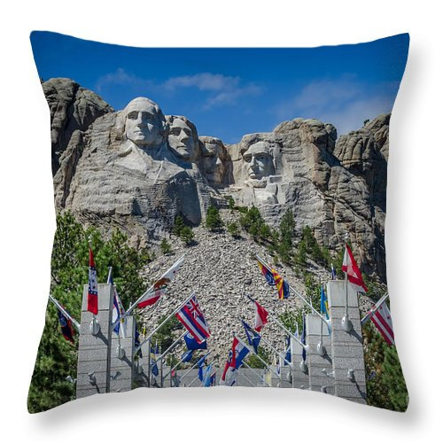 Mount Rushmore National Memorial. Mount Rushmore Throw Pillow featuring the photograph Mount Rushmore National Memorial by Debra Martz