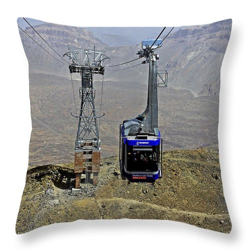 Mount Teide Cable Car Throw Pillow featuring the photograph Mount Teide Cable Car by Tony Murtagh