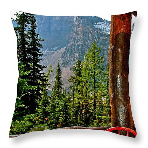 Mount Victoria From Plain Of Six Glaciers Tea House In Banff National Park Throw Pillow featuring the photograph Mount Victoria From Plain Of Six Glaciers Tea House In Banff Np-ab by Ruth Hager