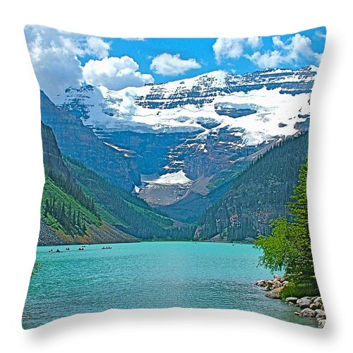 Mount Victoria Rises Above Lake Louise In Banff National Park Throw Pillow featuring the photograph Mount Victoria Rises Above Lake Louise In Banff Np-alberta by Ruth Hager