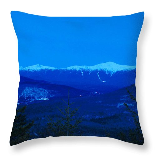 Mount Washington Throw Pillow featuring the photograph Mount Washington And The Presidential Range At Twilight From Mount Sugarloaf by John Burk