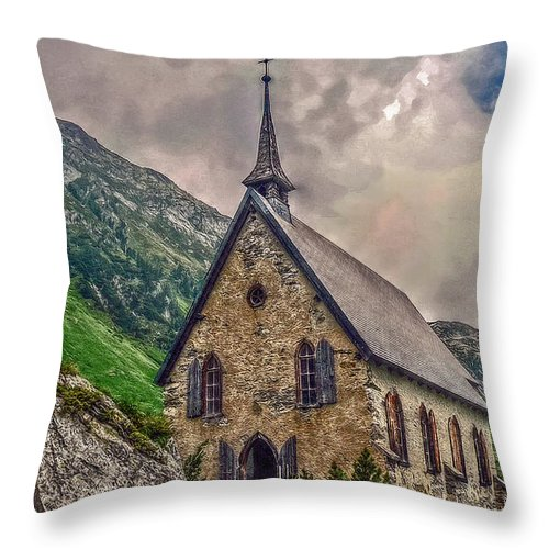 Switzerland Throw Pillow featuring the photograph Mountain Chapel by Hanny Heim