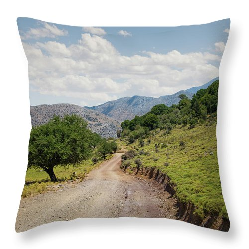 Tranquility Throw Pillow featuring the photograph Mountain Dirt Road In Northern Crete by Ed Freeman