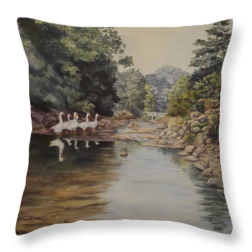 Landscape Throw Pillow featuring the painting Mountain Home Creek by Wanda Dansereau