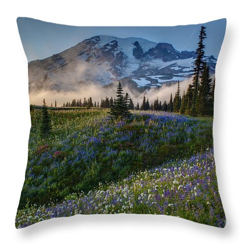 Rainier Throw Pillow featuring the photograph Mountain Meadow Serenity by Mike Reid