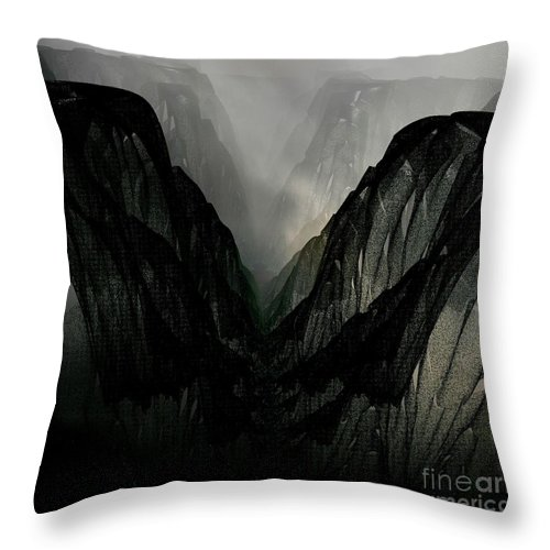 Digital Art Throw Pillow featuring the digital art Mountain Mist And Fog by Gail Matthews