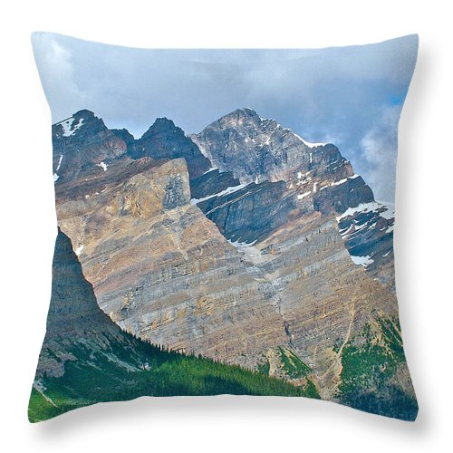 Mountain Peaks From Bow Summit Along Icefields Parkway In Alberta Throw Pillow featuring the photograph Mountain Peaks From Bow Summit Along Icefield Parkway In Alberta by Ruth Hager