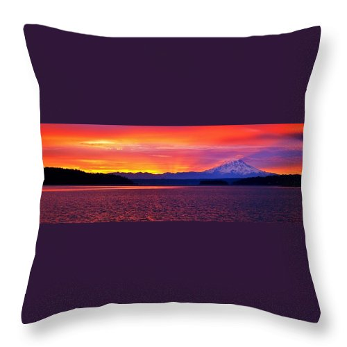 Puget Sound Throw Pillow featuring the photograph Mountain Shadow Panorama by Benjamin Yeager