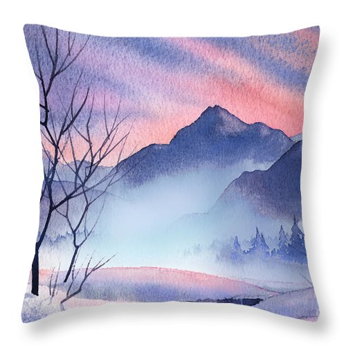 Mountain Silhouette Throw Pillow featuring the painting Mountain Silhouette by Teresa Ascone