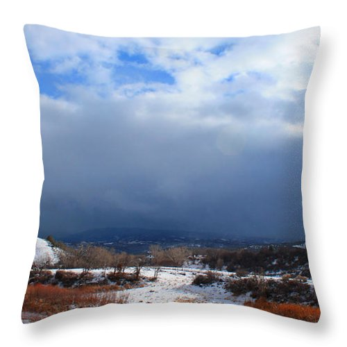 Roena King Throw Pillow featuring the photograph Mountain Snow Coming by Roena King
