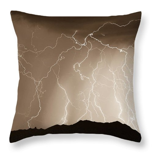 Lightning Throw Pillow featuring the photograph Mountain Storm - Sepia Print by James BO Insogna