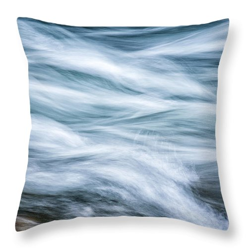 Water Throw Pillow featuring the photograph Mountain Stream In Motion E101 by Wendell Franks