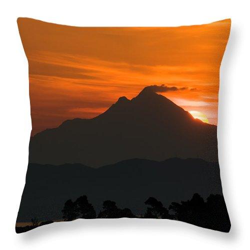 Greece Throw Pillow featuring the photograph Mountain Sunrise by Roy Pedersen