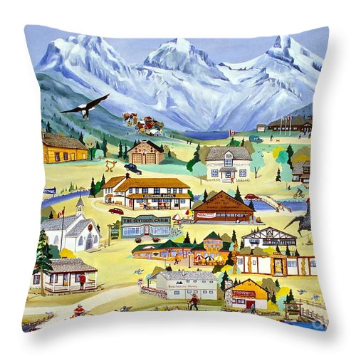 Canmore Throw Pillow featuring the painting Mountain Town Of Canmore by Virginia Ann Hemingson