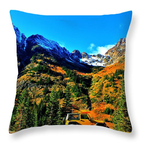 Jeep Throw Pillow featuring the photograph Mountain Wrangler by Benjamin Yeager