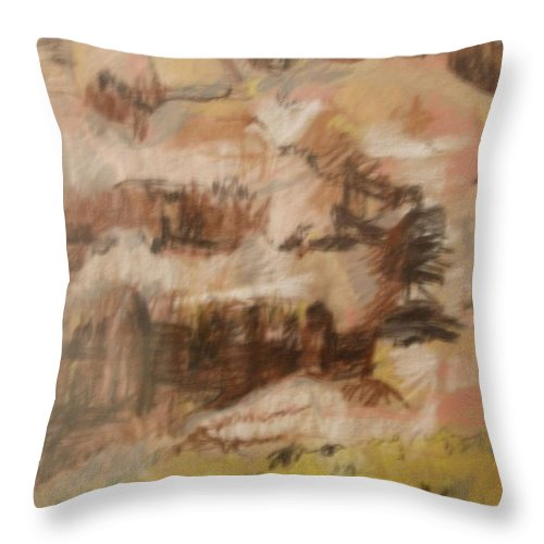 Mountains Throw Pillow featuring the drawing Mountains At The Dead Sea by Esther Newman-Cohen