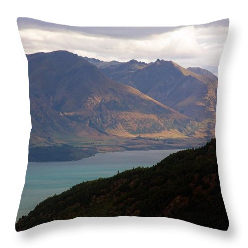 New Zealand Throw Pillow featuring the photograph Mountains Meet Lake #4 by Stuart Litoff
