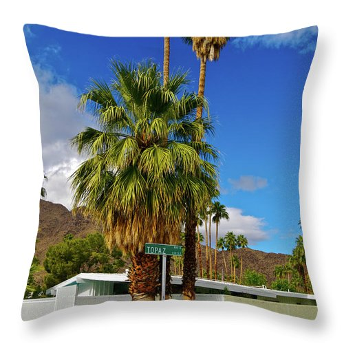 Fan Palm Tree Throw Pillow featuring the photograph Mountains, Plants & Mid-century Home In by Jaylazarin