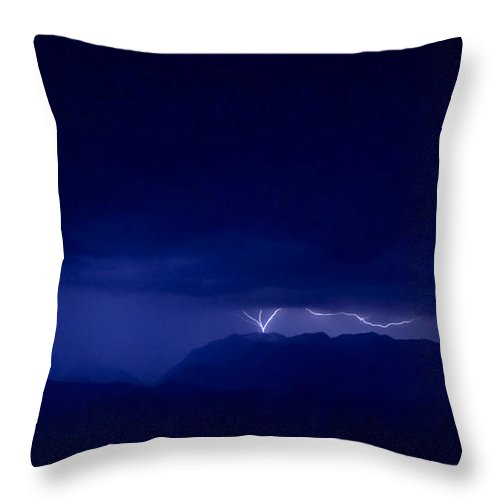 Lightning Throw Pillow featuring the photograph Mountrain Strike by Andrea Goodrich