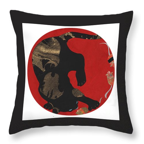 Cat Throw Pillow featuring the mixed media Mouse Cat by Mary Atchison