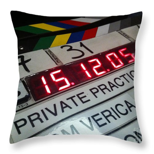 Camera Slate Throw Pillow featuring the photograph Movie Slate From Private Parctice by Micah May